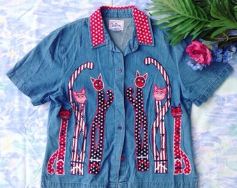 Tantrums Cats Button Down Shirt 90s style Blue Red Size M