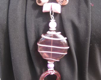 Necklace & Earrings Set,  Lampwork beads, OOAK, Purple and Pink Glass Beads, Sterling Silver