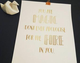 You are magic -A4 copper foil print