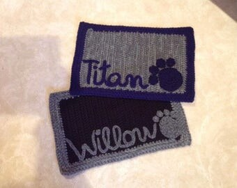 Personalized Crocheted pet mat for food and water dish