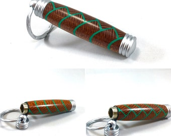 Herringbone keychain and leopard wood with green accents
