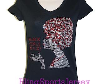 Black Girls Rock Rhinestone Bling T-shirt V-neck