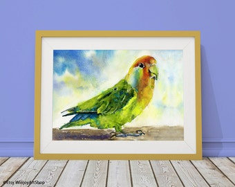 PARROT printable watercolor art, Instant Download, bird portrait, Parrot wall art, home decor, nature, village life, Office decoration