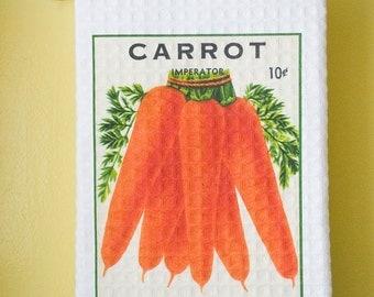 Waffle Weave Vintage Seed Packet -  Orange Carrots Dish Towel | Free Shipping | Housewarming Gift | Shower Gift | Wedding Gift