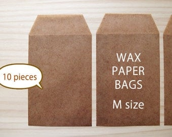 10pce - Waxed paper bags - Brown color - M SIZE