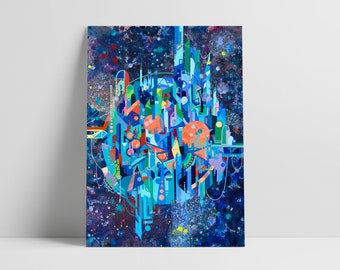 City floating in the deepness of space