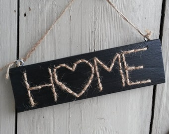 Wooden sign - home - black