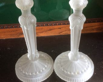 Vintage Art Deco Frosted Glass Candlesticks