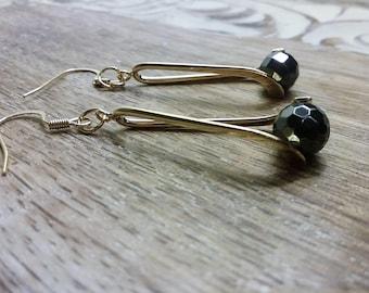 Gold Teardrop Earrings, Twisted Teardrop Earrings, Open Teardrop Earrings, Teardrop Wire Dangle, Gold Earrings, Statement Earrings For Wife,