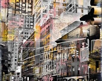 New York City, Monument, skyscraper, Mixedmedia art, stroller, pattern, overpaint, vintage, traffic, Streetlife, colourful