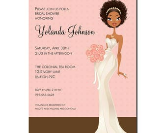 African American Bridal Shower Invitation |  African American Bridal Tea | African American Bridal Brunch | African American Natural Bride