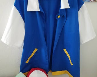 Ash Ketchum Cosplay Jacket, Hat, Gloves - Pokemon Trainer Costume for Men or Women - Ash Ketchum Original Series Outfit Custom Made Any Size