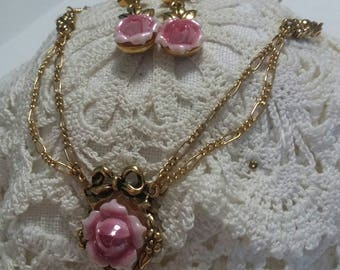 Reserved for miss Julie Avon Roses vintage necklace and earrings set
