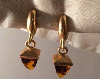 Large Goldtone and Brownish Resinlike Clipon Earrings