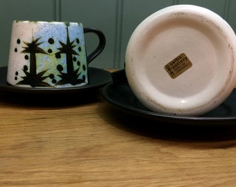 Pair of cups and saucers, Folk design by Celtic pottery, Newyln, Cornwall