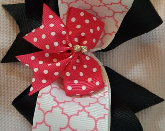 CUTE pink and black boutique bow