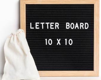 """Pre Order! ReadyWerks Felt Letter Board """"10 x 10"""" - Black Felt W/ Oak Frame: Changeable Letter Board w/ 290 3/4 Inch Letters Letterboard"""