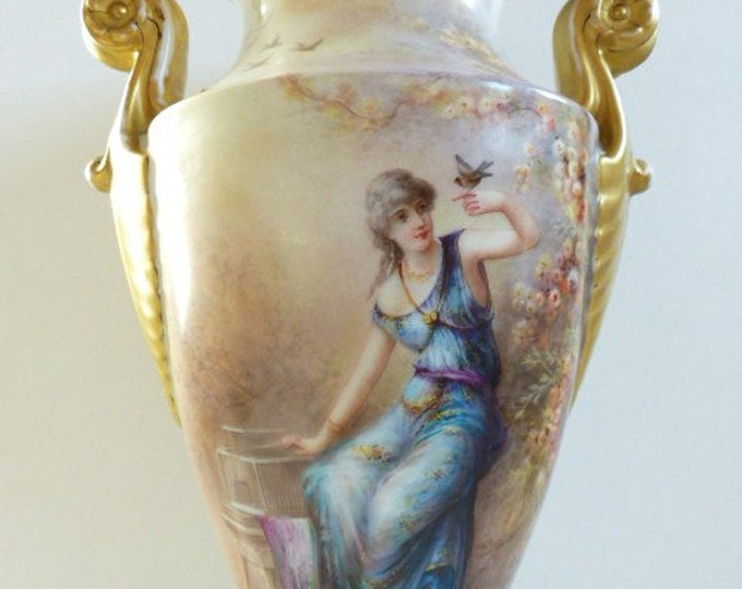 GRAND & RARE Pouyat Limoges Vase c. 1890-1932