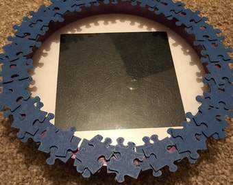 "Handmade Jigsaw Puzzle Piece Circular Photo Frame Fits 4""x4"" Photo Blue"