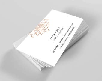 Geometry Hexagon Peach Pink Rose Gold White Delicate Business Card