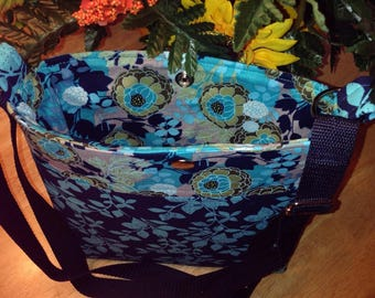 Cross Body Navy Teal floral bag