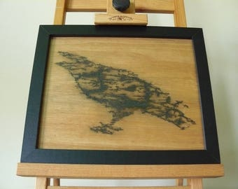 Lichtenberg Art Raven Silhouette, Electric Etching, Crow, Bird, Pyrography