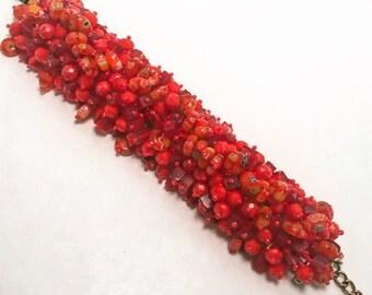 Red Cluster Bracelet