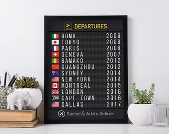 Digital-Only Airport Flight Board with Flags