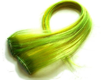 "Set of TWO 16"" Clip-In Human Hair Streaks, Lemon Lime"