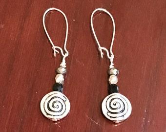 Czech Glass and Silver Swirl Earrings