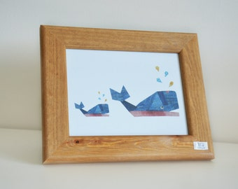 Wally Whale Framed Print - Natural Wood