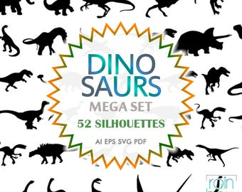Dinosaur Svg Files, Dino Svg, Dinosaur Clipart, Dinosaur Decal, Reptile Decor, Svg Silhouette, Svg File For Cricut, Silhouette Cameo Files
