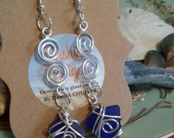 Cobalt Blue Seaglass Earrings