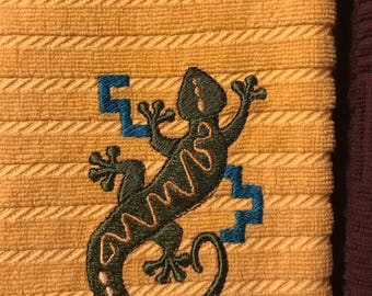 Embroidered Gecko Kitchen Towels. Set of 2.