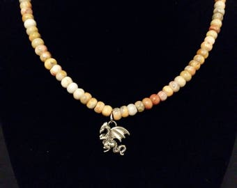 Crazy Agate beaded necklace with Silver Dragon