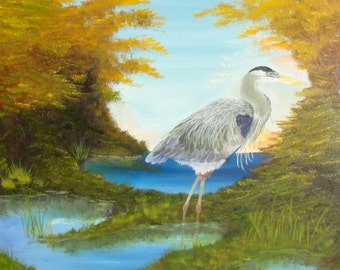 Heron in swamp Dancingbranch paintings