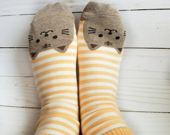 Women Fashion Cat Socks, Cat Orange Socks, Women Cat Socks, Girl Socks, Cat Footprints Socks, Soft Cotton Socks, Orange Cat  Socks, Socks