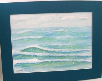 original watercolor painting, Waves, water color, 11 x 14 matted FREE shipping in USA