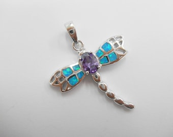 Sterling Dragonfly, Opal Dragonfly, Opal Pendant, Blue Fire Opal, Silver Blue Fire Opal Inlay & Amethyst Dragon Fly Pendant #798