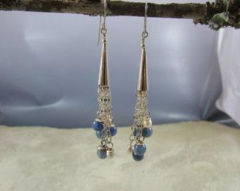 Kyanite, freshwater pearls and sterling silver earrings