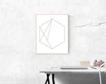 Geometric Print, Hexagon, Geometry Wall Art, Minimalist Art Poster, Scandinavian Print, Minimalist Wall Decor, Black and White, Polygon Art