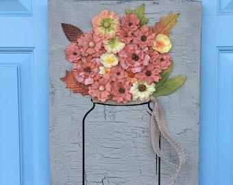 Wooden Flower Door Hanger