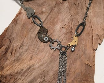 Timeless Tassel Necklace -Steampunk Stainless and Vintage Brass Watch Gears