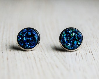 Stardust - blue, cosmic stud earrings with druzy