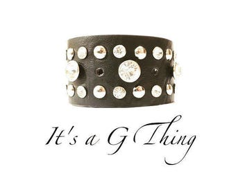 Black Leather Rhinestone & Riveted Cuff
