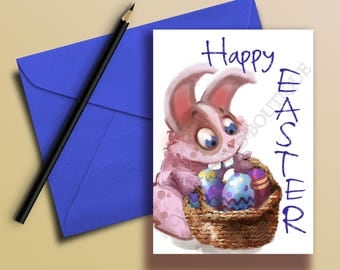 Happy Easter Card / Easter Card / Easter Bunny Greeting Card