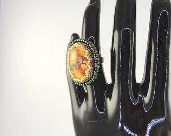 Bead embroidery ring with variscite cabochon