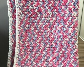 Baby Blanket-White/Pink/Blue Multi colour