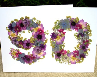 90th Birthday Card, Mum 90th, Sister 90th Birthday, Nan, Dad 90th Birthday, Granddad 90th, English Pressed Flower PRINT, Cards for Gardeners