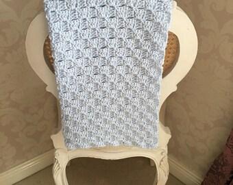 HANDMADE Blue Crochet Baby Blanket - BABY BOY